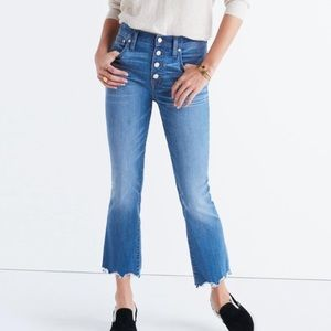 Madewell Cali Demi Boot Button Fly Jeans Raw Hem